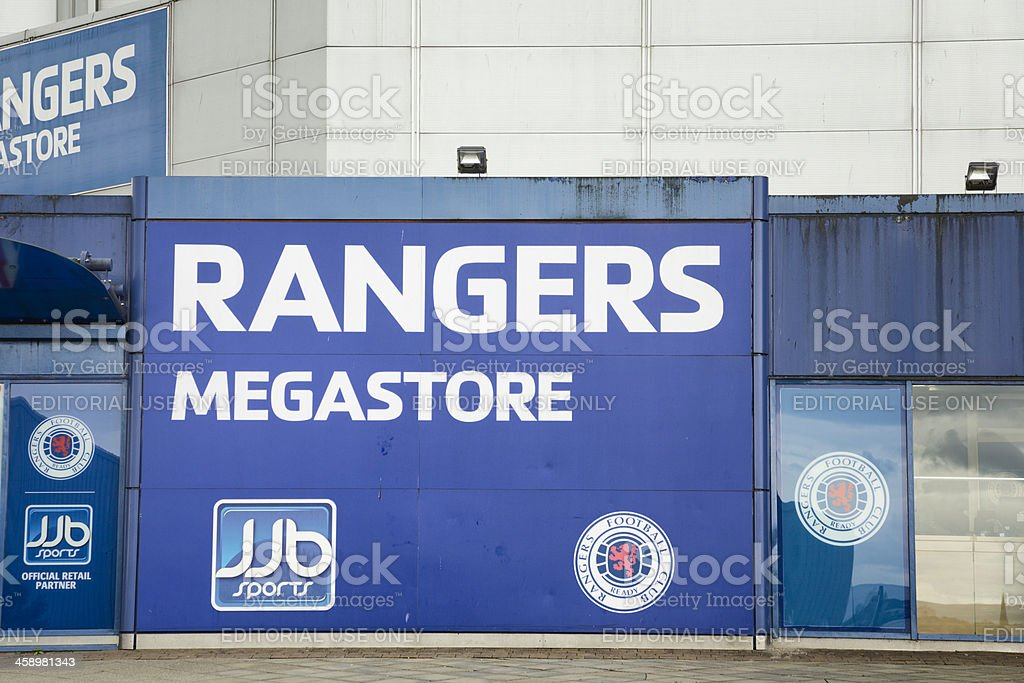 JJB Rangers Megastore at Ibrox Stadium, Glasgow royalty-free stock photo