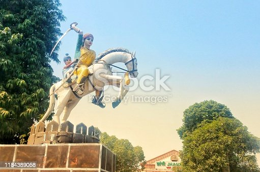 Rani Laxmi bai - the great warrior of 18th century - statue in Jhansi, Uttar Pradesh, India