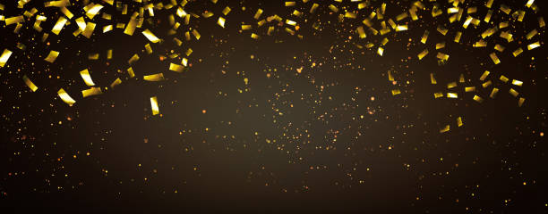 raning gold confetti party background raning gold confetti party background carnival celebration event stock pictures, royalty-free photos & images