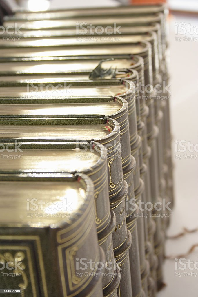 Rank of antique old books royalty-free stock photo