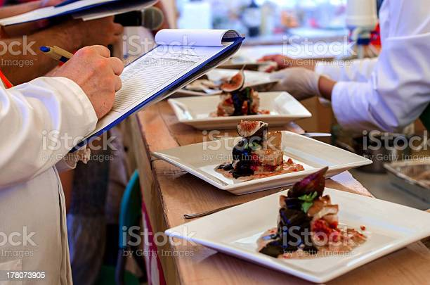 Ranking Food At A Contest Stock Photo - Download Image Now