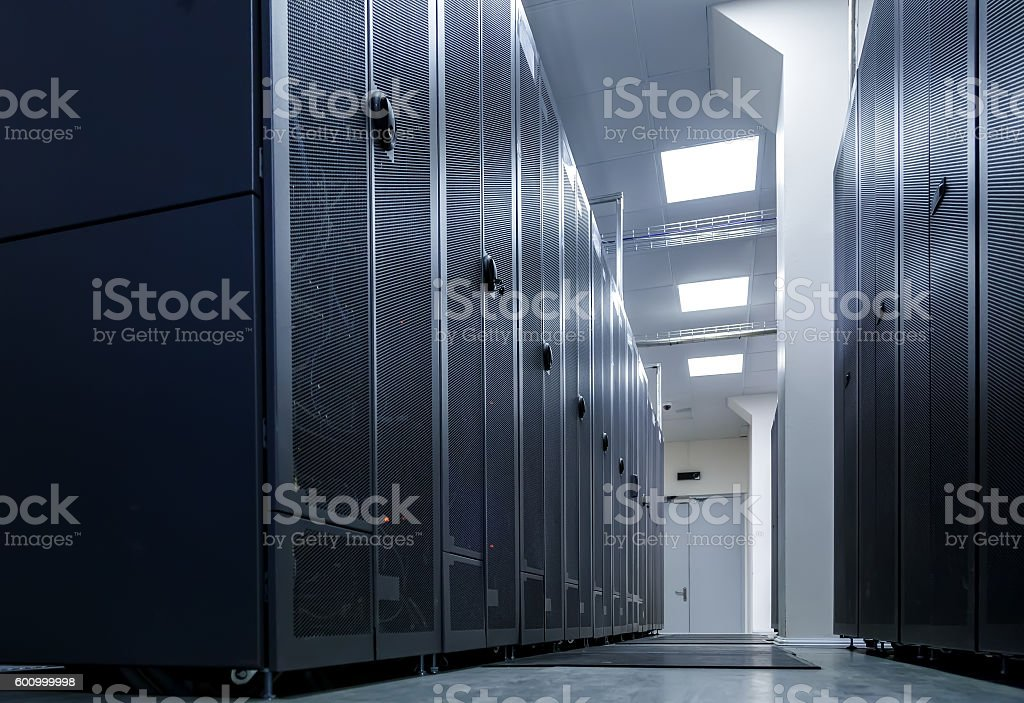 ranks of communication routers in the data center stock photo