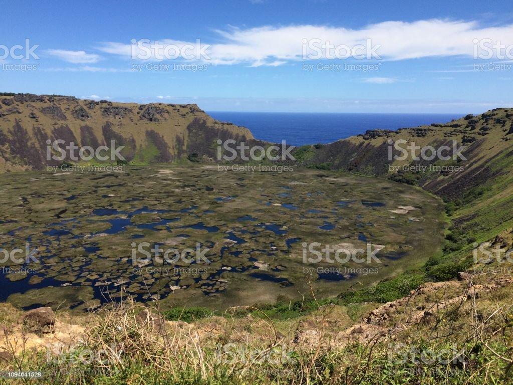 Rano Kau, Easter Island stock photo