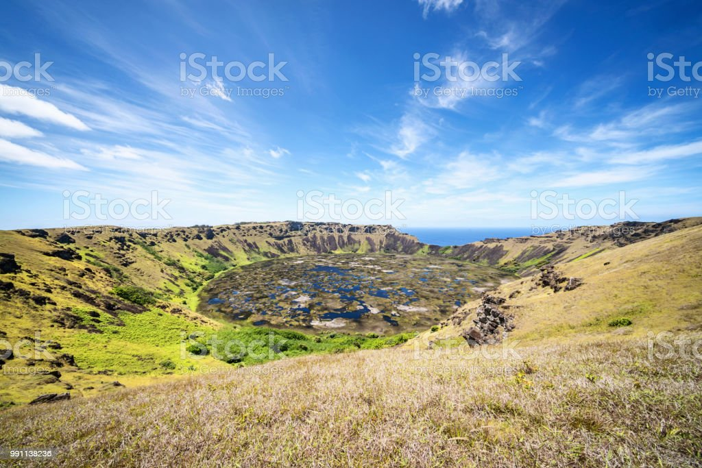 Rano Kau Volcano Crater Easter Island Rapa Nui Chile royalty-free stock photo