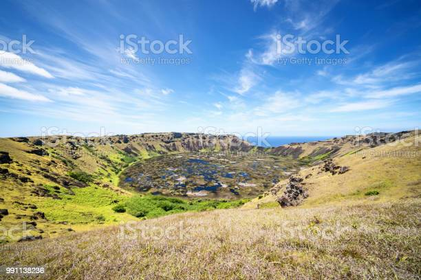 Rano Kau Volcano Crater Easter Island Rapa Nui Chile Stock Photo - Download Image Now
