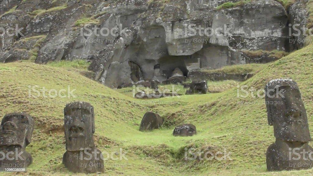 Rano Raraku, Easter Island stock photo