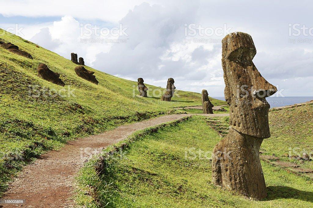Rano Raraku Quarry - Easter Island stock photo