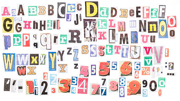 Ransom note alphabets XXXL Loads of letters clipped from newspapers. There are several variants of each letter,  plus numerals and punctuation. letter p stock pictures, royalty-free photos & images