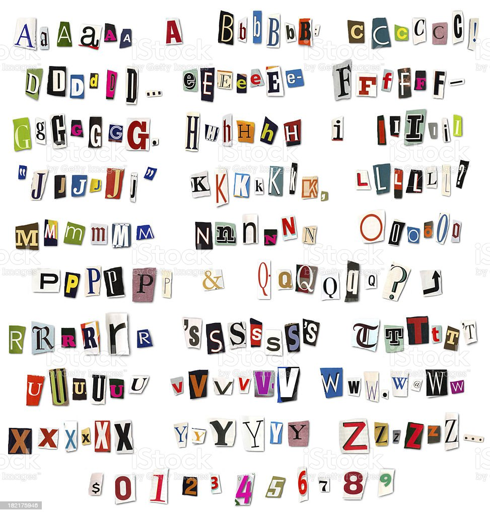 Ransom Note Magazine and Newspaper Cutouts royalty-free stock photo