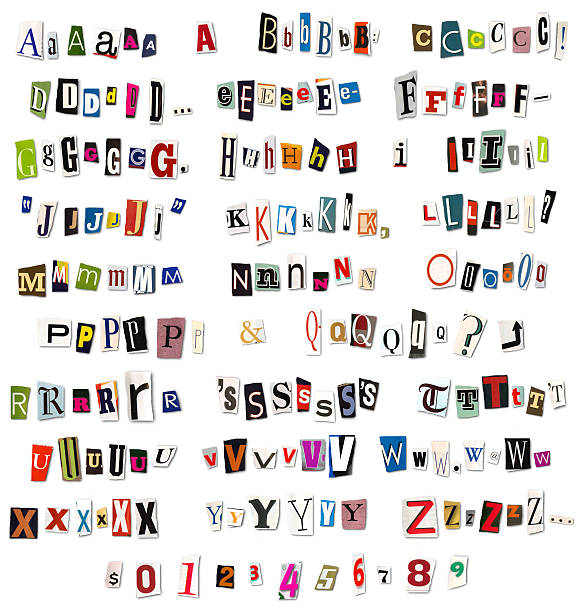 ransom note magazine and newspaper cutouts - note message stock photos and pictures