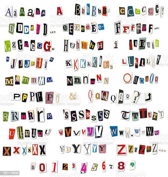 Ransom Note Magazine And Newspaper Cutouts-foton och fler bilder på Alfabet