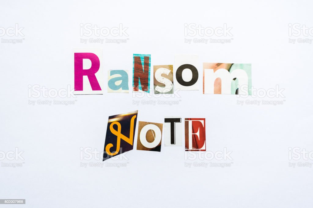 Ransom Note - note stock photo