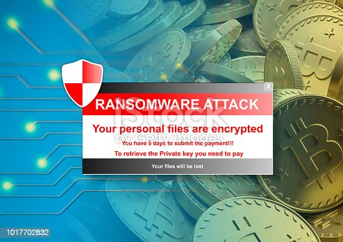 istock Ransomware alert on a bitcoins background. 3d illustration 1017702832