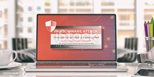 istock Ransomware alert on a laptop screen. 3d illustration 1022317448