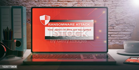 istock Ransomware alert on a laptop screen. 3d illustration 1025773608