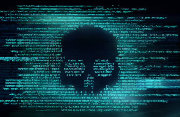 ransomware and code hacking background - virus stock pictures, royalty-free photos & images