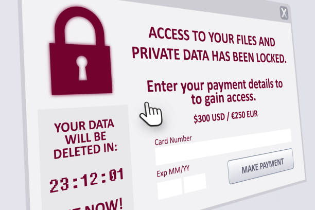 Ransomware Attack A ransomware pop up on computer screen spyware stock pictures, royalty-free photos & images
