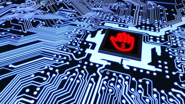 Ransomware circuit board with hand stop symbol cpu stock photo