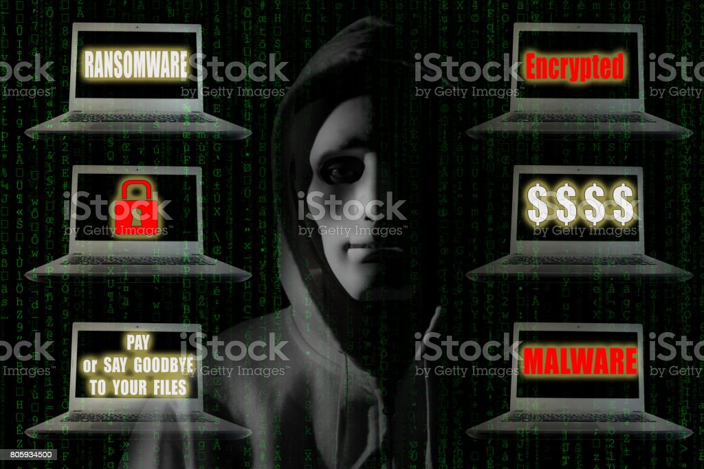 Ransomware Concept : Hacker with notebook computer showing sign relating ransomware and malware. Digital security technology concept. stock photo