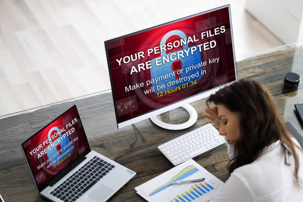 Ransomware Cyber Attack Text From Hacker stock photo