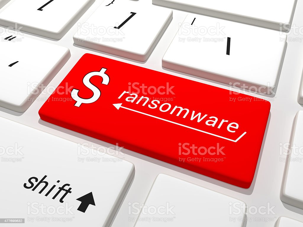 Ransomware dollar key on a keyboard stock photo