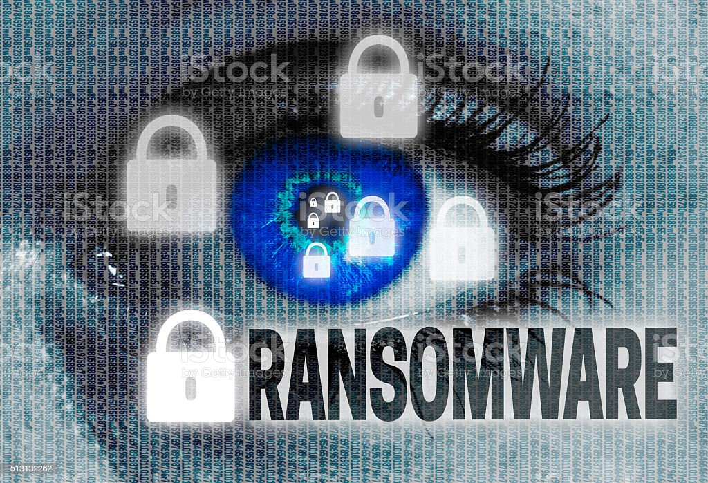 ransomware eye looks at viewer concept stock photo