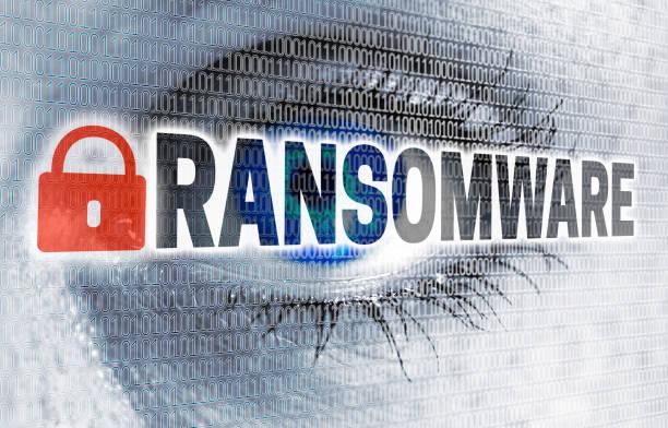 Ransomware Auge mit Matrix schaut Betrachter Konzept – Foto