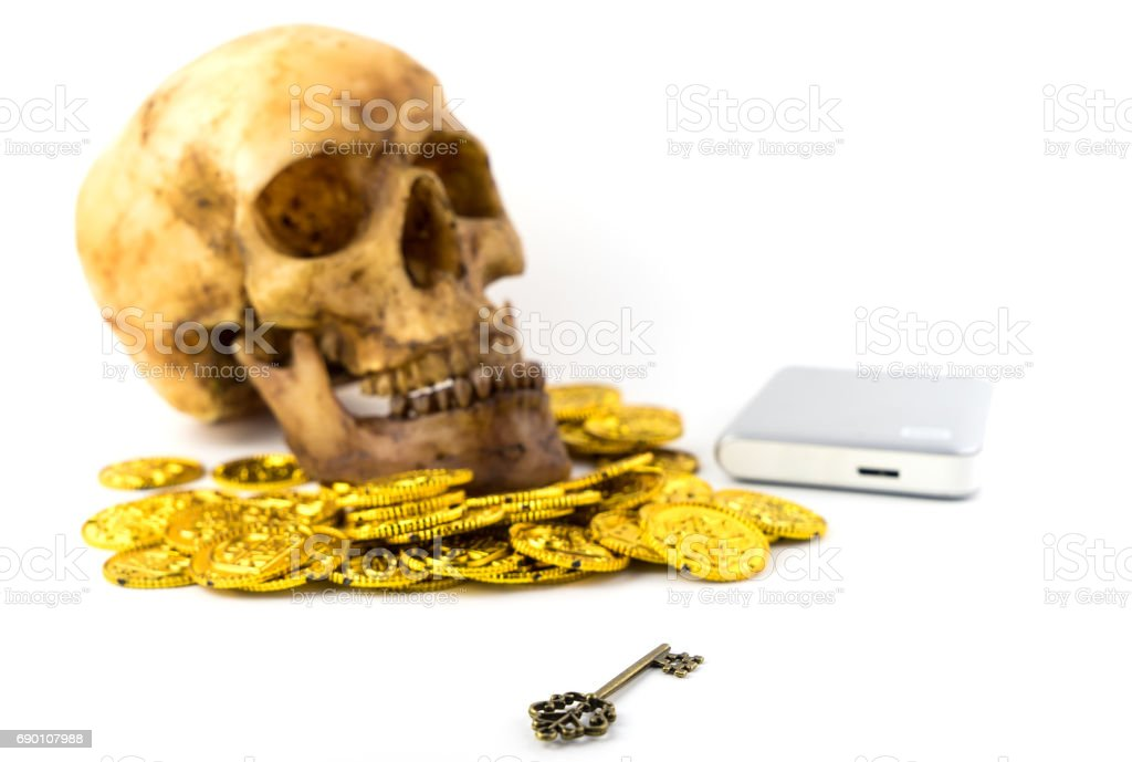 Ransomware is taking money for Data encryption concept stock photo