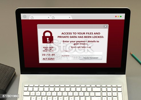 A ransomware pop up on computer screen.