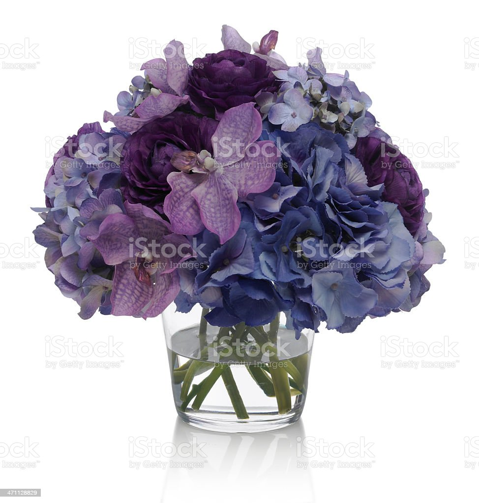 Ranunculus, hydrangea and orchid bouquet on white background royalty-free stock photo