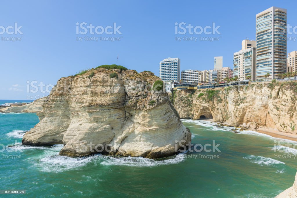 Raouche, Pigeon's rock and cave, a touristic icon rock cliff in Beirut, Lebanon. stock photo