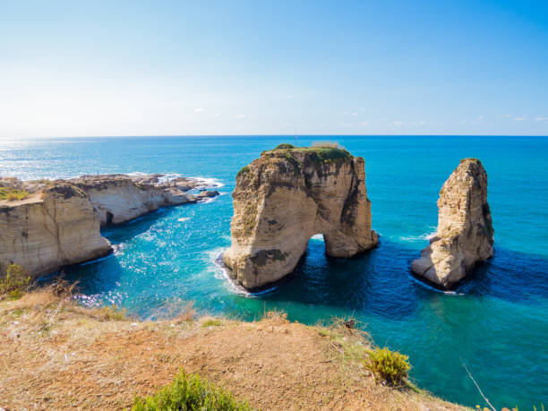 Raouche, Pigeons' Rock, Beirut, Lebanon stock photo