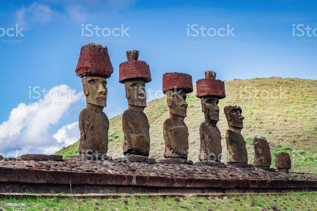 Rapa Nui Ahu Nau Nau Moia Anakena Beach Moai Statues Easter Island stock photo