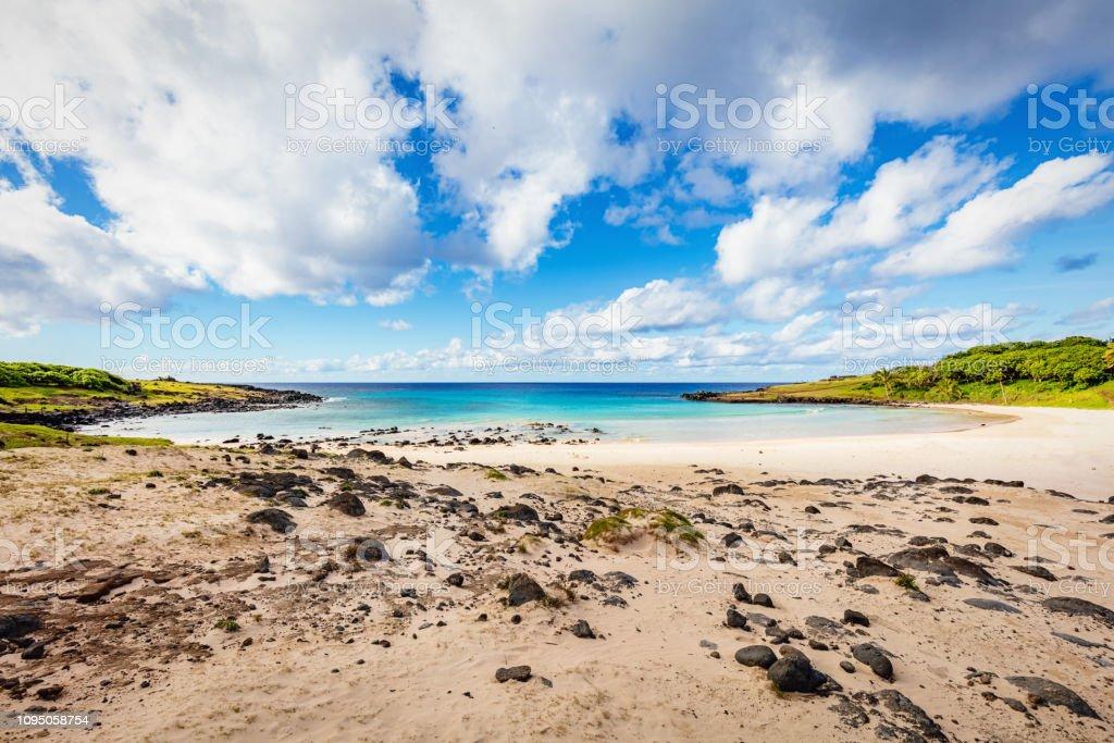 Rapa Nui Anakena Beach Bay Easter Island stock photo