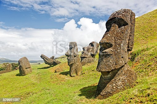 Moais in Rapa Nui National Park on the slopes of Rano Raruku volcano on Easter Island, Chile.