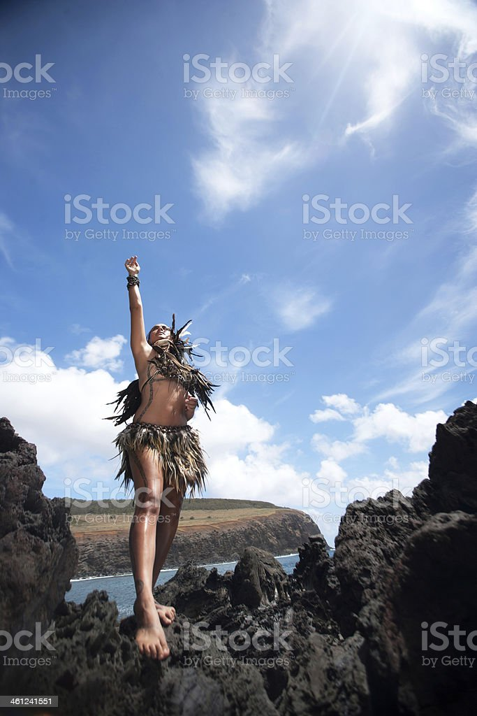 Rapa Nui Woman Looking to the Sky royalty-free stock photo