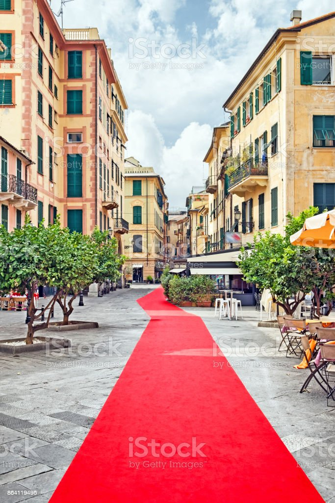 Rapallo Red Carpet Day in Rapallo, Italy. The red capet, the longest in the World, runs from Portofino to Rapallo, Liguria, Italy and is an occasion for festivites. Architecture Stock Photo