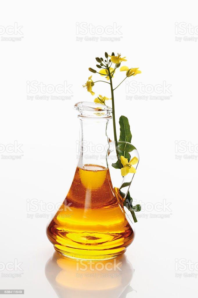 Rape blossom and canola oil in jug stock photo