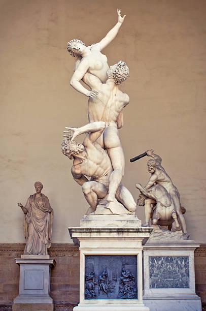 Rape of the Sabine Women. Florence, Loggia dei Lanzi. stock photo