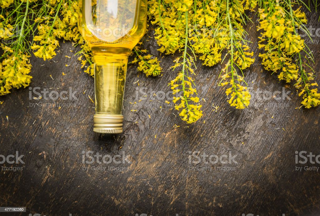 Rape oil and plant  blossoms on dark rustic wooden background stock photo