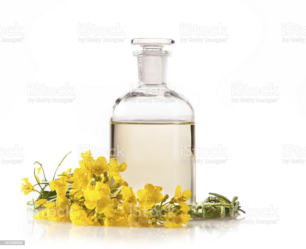 Rape oil on white background stock photo