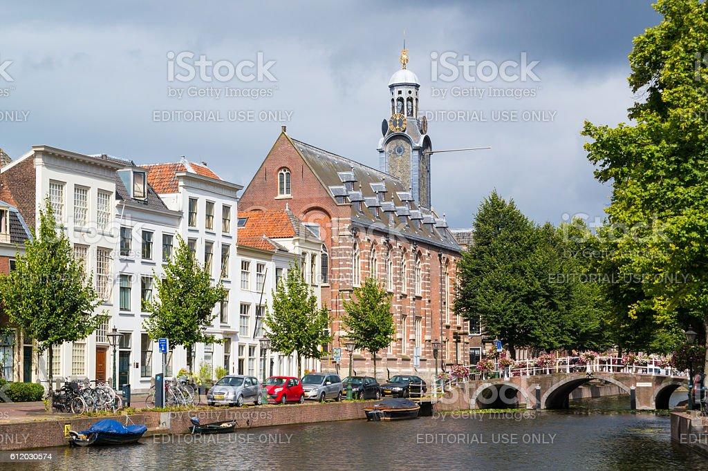 Rapenburg canal in Leiden, Netherlands stock photo