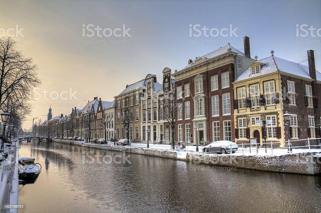 Rapenburg Leiden winter stock photo