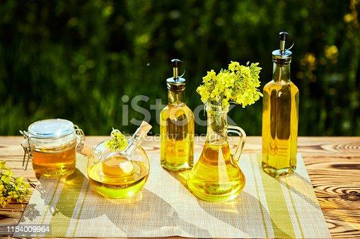 Rapeseed oil bottles (canola) on background rape field