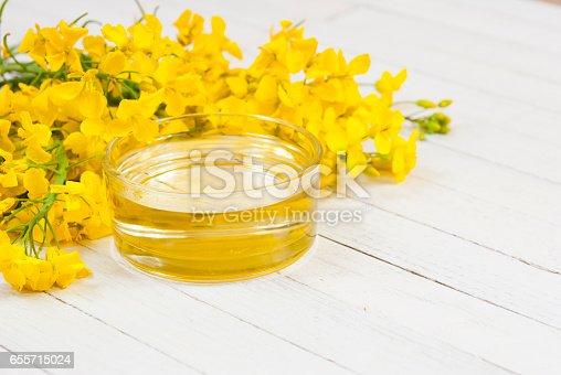 rapeseed oil with rape flowers