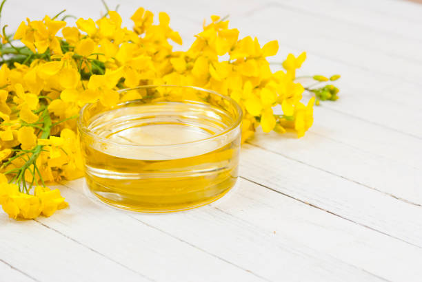 Rapeseed oil rapeseed oil with rape flowers oilseed rape stock pictures, royalty-free photos & images