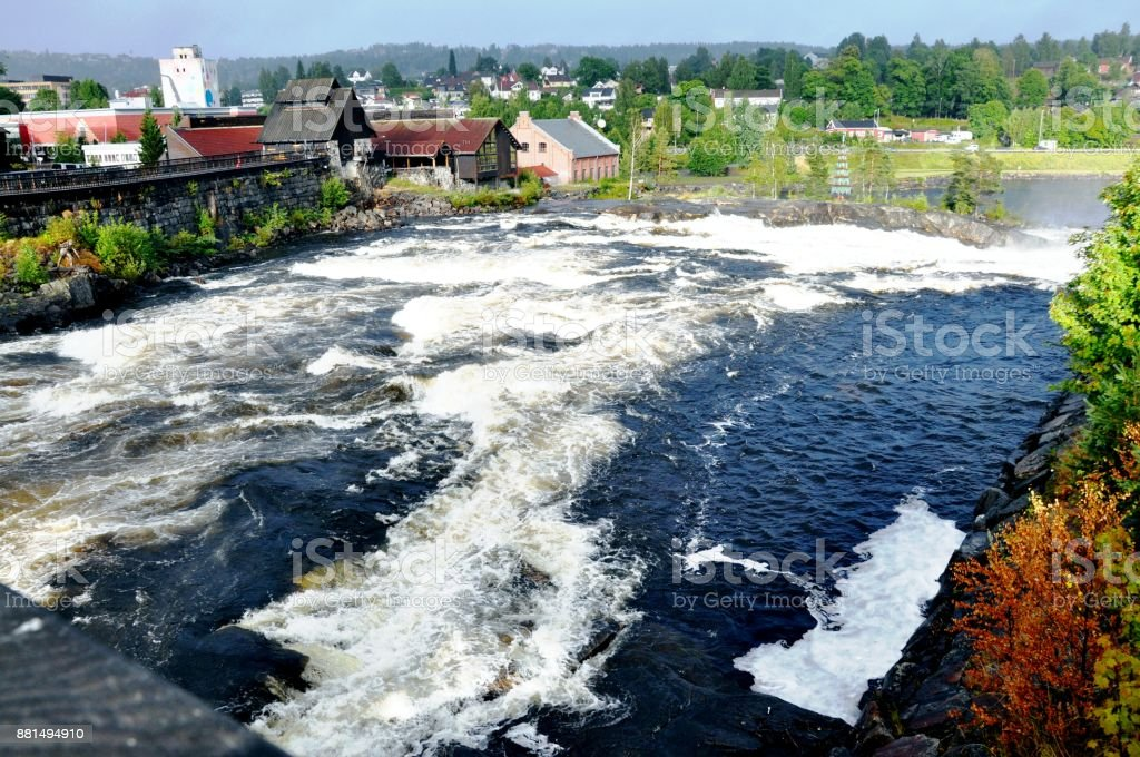 Rapid descent of rivers stock photo