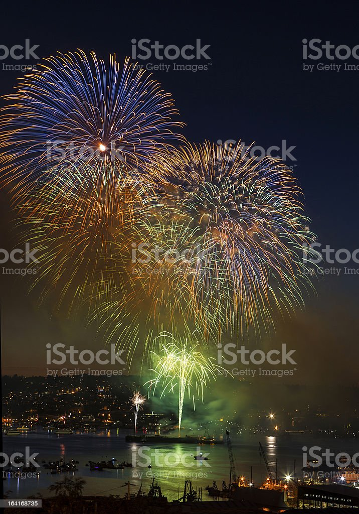 Rapid Firing of Fireworks on Lake Union Washington stock photo