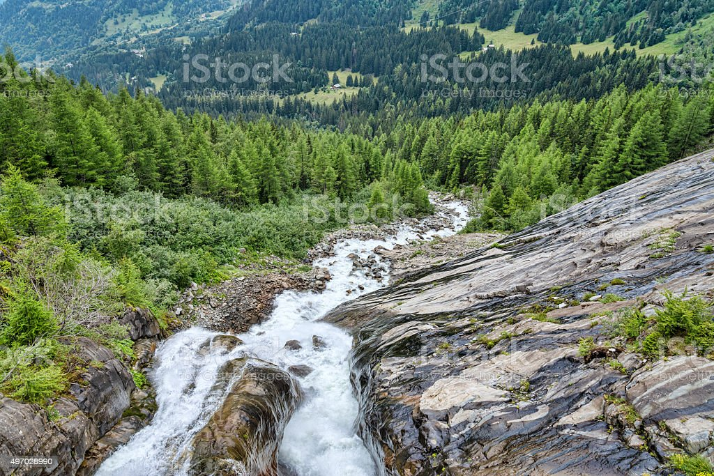 Rapid mountain river among forest summer landscape stock photo