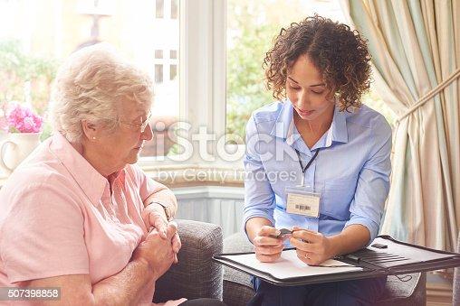 istock rapid response pendant for senior woman 507398858